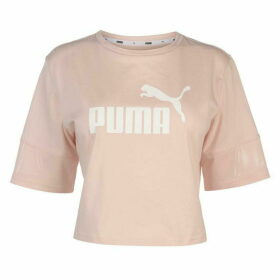 Puma Cropped T Shirt Ladies - Pink/White