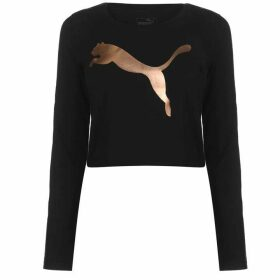 Puma Long Sleeve Crop T Shirt Ladies - Black/RoseGold