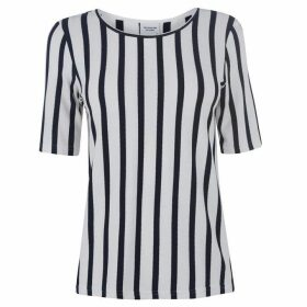 JDY Navy Striped Blouse - Cloud Dancer