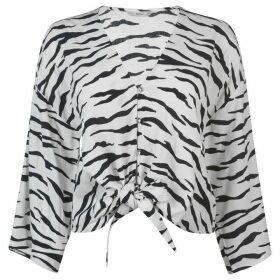 Only Tie Blouse - Zebra Print