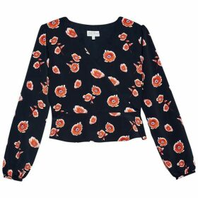 Jack Wills Otterley Floral Long Sleeve Wrap Top - Black