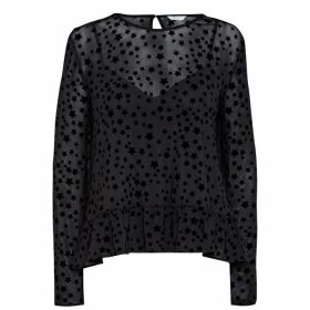Jack Wills Shellingford Flocked Star Top - Black