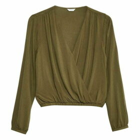 Jack Wills Brasside Textured Wrap Top - Khaki
