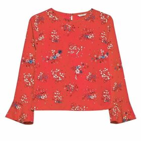 Jack Wills Rosamunde High Neck Print Top - Red