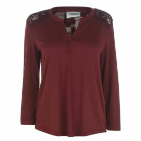 JDY Kim Lace V Neck Top - Brown