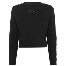 Fabric Tape Long Sleeve T Shirt Ladies - Black