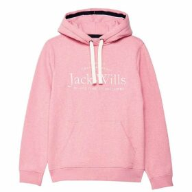 Jack Wills Hunston Embroidered Graphic Hoodie - Pink Marl