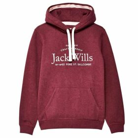 Jack Wills Hunston Embroidered Graphic Hoodie - Damson