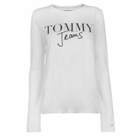Tommy Jeans Script Logo Long Sleeve T Shirt - White