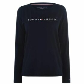 Tommy Bodywear Long Sleeve Logo T Shirt - Navy Blazer