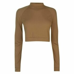 adidas Long Sleeve Crop T Shirt Ladies - Raw Desert