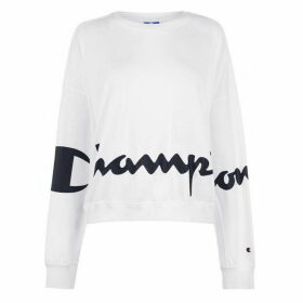 Champion Long Sleeve Logo T Shirt - White