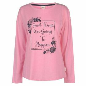 Lee Cooper Long Sleeve Logo T Shirt Ladies - Pink Marl