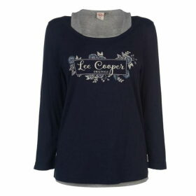 Lee Cooper Double Layer T Shirt Ladies - Navy