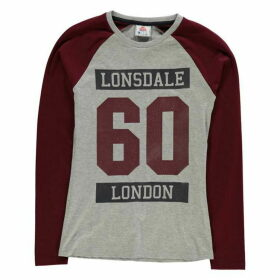 Lonsdale Raglan Long Sleeve T Shirt Ladies - Grey M/Burg