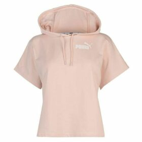 Puma Short Sleeve Cropped Hoody Ladies - Pink/White
