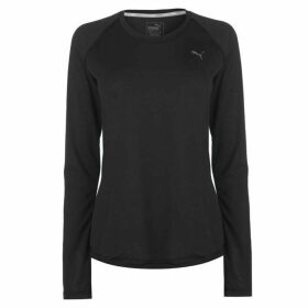 Puma Long Sleeve Workout T Shirt Ladies - Black