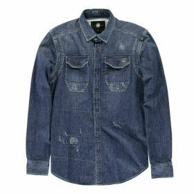 G Star Wolker Long Sleeve Shirt - dk aged restore