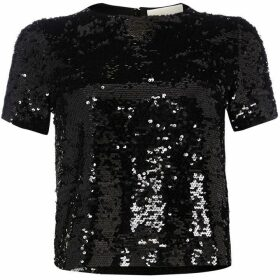 MICHAEL Michael Kors Crew neck sequin crop top - Black