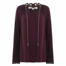 MICHAEL Michael Kors Scallop grommet chain top - Burgundy