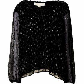 MICHAEL Michael Kors Draw string v neck blouse - Black