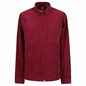 Pretty Green Zip Through Fine Cord Shirt - Red