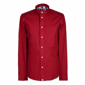 Pretty Green Slim Fit Collarless Shirt - Red