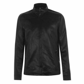 Fabric PU Jacket Mens - Black