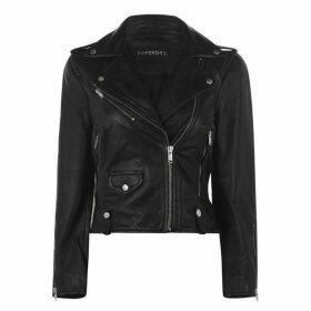 Superdry Rylee Leather Biker Jacket - Black 02A