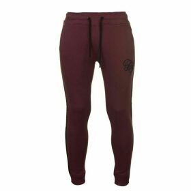 Fabric Embroidered Tapered Jogging Bottoms - Burgundy