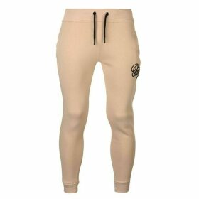Fabric Embroidered Jogging Pants - Beige
