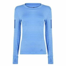 adidas Long Sleeve Runner T Shirt Ladies - Real Blue