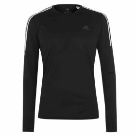 adidas 3 Stripe Long Sleeve T Shirt Mens - Black/White