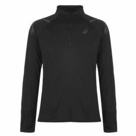 Asics Icon Half Zip Top Mens - Black/Red