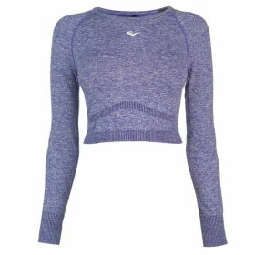 Everlast Long Sleeve Crop T Shirt Ladies - Blue Marl
