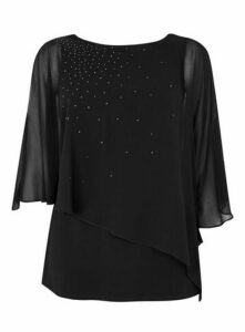 Black Sparkle Overlay Top, Black