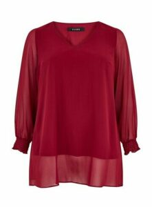 Wine V-Neck Overlay Top, Wine