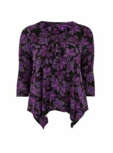 Purple Paisley Print Pintuck Top, Black