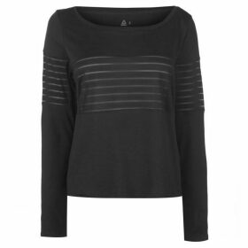 Reebok Mesh Long Sleeve T Shirt Ladies - Black