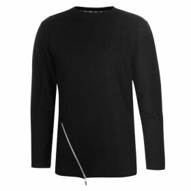 Fabric Asymmetric Zip Long Sleeve T Shirt Mens - Black