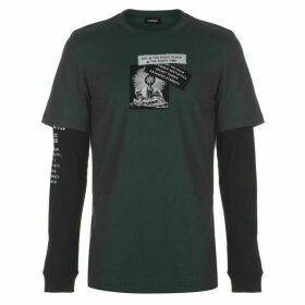 Diesel Shoot Ya Long Sleeve T Shirt - Teal