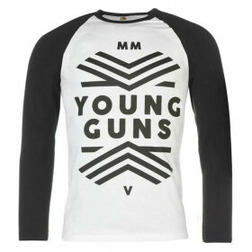 Official Young Guns Raglan T Shirt Mens - White