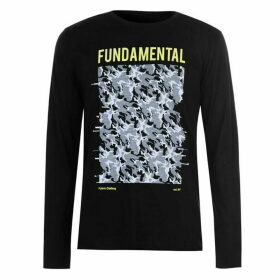 Fabric Long Sleeve Camo TShirt Mens - Black