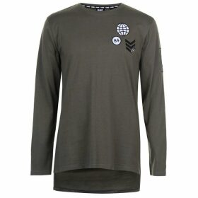 Fabric Long Sleeve Patch Top Mens - Green