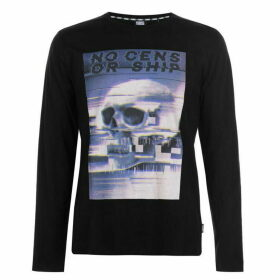 Fabric Long Sleeve Glitch Top Mens - Black