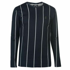 Intense Pinstripe Long Sleeve T Shirt - Charcoal