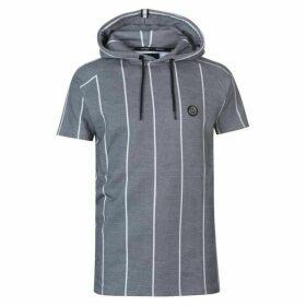 Intense Pinstripe Short Sleeve Hoodie - Grey