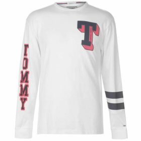 Tommy Jeans Varsity Long Sleeve T Shirt - Classic White