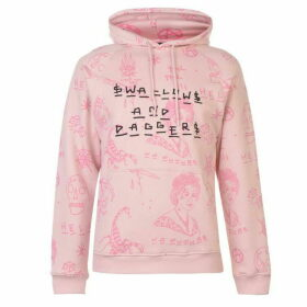 Swallows and Daggers All Over Print Hoodie - Pink