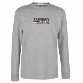 Tommy Jeans Corporate Long Sleeve T Shirt - Lt Grey Htr
